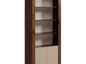 WHITE LABEL - bibliothèque 2 portes noyer/mastic - gringo - l 80 - Etagère