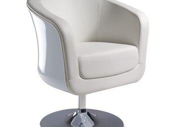 WHITE LABEL - fauteuil simili cuir blanc - bear - l 71 x l 64 x  - Fauteuil Rotatif