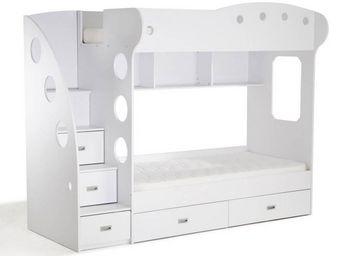 WHITE LABEL - lit mezzanine superposé combi blanc - Lits Superposés Enfants