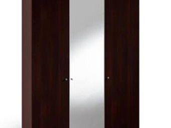 WHITE LABEL - dressing dean 3 porters battantes 2 couleur wengé  - Armoire Dressing