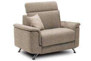 WHITE LABEL - fauteuil empire tweed beige convertible ouverture  - Fauteuil Lit