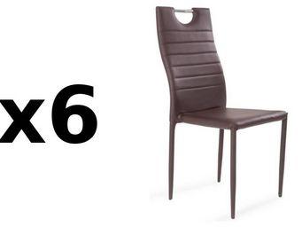 WHITE LABEL - lot de 6 chaises design elena similicuir marron - Chaise