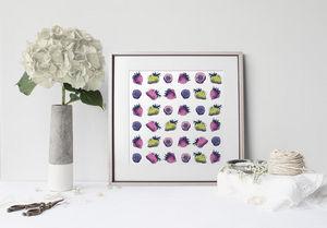 la Magie dans l'Image - print art fraises motifs - Estampe