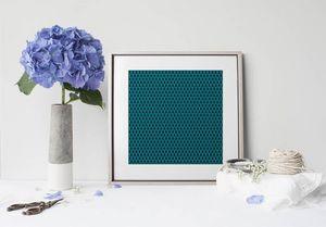 la Magie dans l'Image - print art uni chouette bleu - Poster