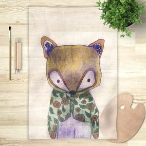 la Magie dans l'Image - foulard mon petit renard vert - Foulard Carré