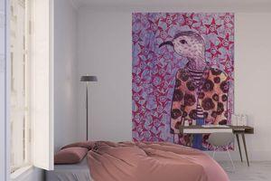la Magie dans l'Image - grande fresque murale mon petit oiseau fond mauve - Papier Peint Panoramique