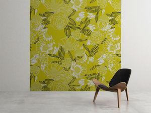 la Magie dans l'Image - grande fresque murale pivoine moutarde - Papier Peint Panoramique