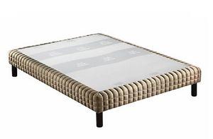 WHITE LABEL - sommier tapissier epeda armuré marron/or confort m - Sommier Fixe À Ressorts