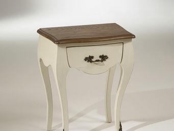 robin des bois - chevet blanc d'ivoire, plateau chêne, 1 tiroir, a - Table De Chevet