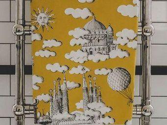 THEVENON - sur un nuage fd moutarde - Tissu D'ameublement