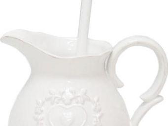 Antic Line Creations - broc brosse wc coeur en céramique - Porte Balayette Wc