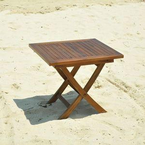 Table ronde pliante en bois de teck huilé BALI - Table de ...