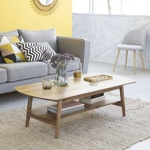 BOIS DESSUS BOIS DESSOUS - table basse en bois de mindy 130 x 40 fifties - Table Basse Rectangulaire