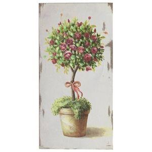 CHEMIN DE CAMPAGNE - tableau cadre en bois peint rosier 30x15.50 cm - Tableau Décoratif