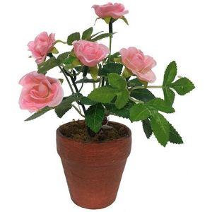 CHEMIN DE CAMPAGNE - rosier artificiel rose 17 cm - Fleur Artificielle