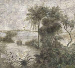 Ananbô - les rives du mékong grisaille - Papier Peint Panoramique
