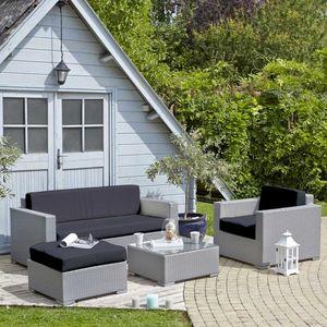 BOIS DESSUS BOIS DESSOUS - salon de jardin en résine tressée conti gris - Salon De Jardin