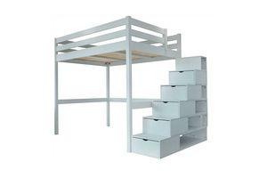 ABC MEUBLES - abc meubles - lit mezzanine sylvia avec escalier cube bois gris aluminium 140x200 - Lit Mezzanine