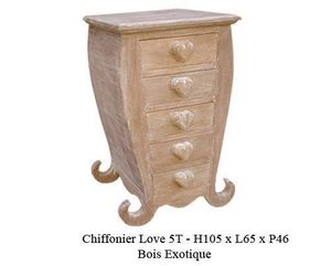DECO PRIVE - chiffonnier en bois modèle coeur cérusé - Chiffonnier