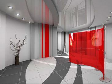 Fluo séparation de bureau rouge uni aluminium artdesign