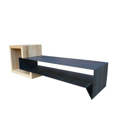 Meuble tv en m tal et bois konnect table basse forme - Table basse bois originale ...