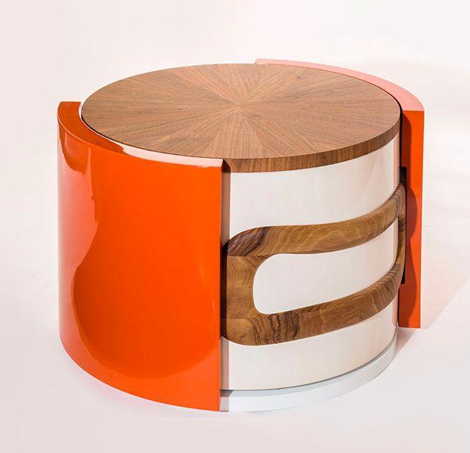 convoitise table basse ronde orange rouge absolu decofinder. Black Bedroom Furniture Sets. Home Design Ideas