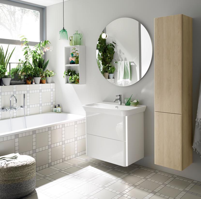 iveo meuble de salle de bains blanc uni m lamine 800x721x492mm burgbad