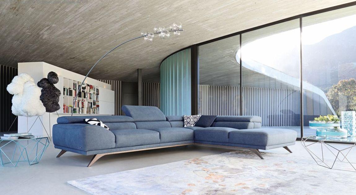 azur canap d 39 angle bleu tissu roche bobois. Black Bedroom Furniture Sets. Home Design Ideas