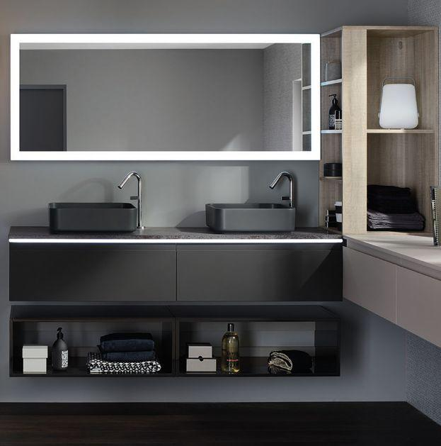 halo meuble de salle de bains gris sanijura decofinder. Black Bedroom Furniture Sets. Home Design Ideas