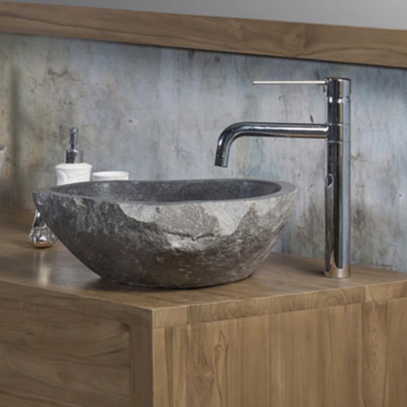 Vasque en pierre naturelle miroir de salle de bains - Vasque de salle de bain en pierre ...