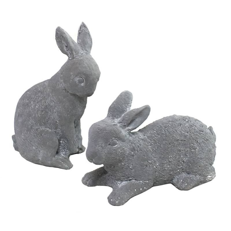 grande statue sculpture lapin de jardin en ciment ornement de jardin gris ciment chemin. Black Bedroom Furniture Sets. Home Design Ideas
