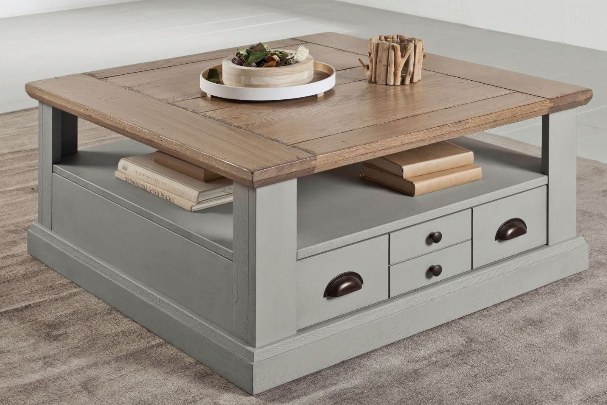 Table basse carr e gris bois ateliers de langres decofinder - Table basse carree bois gris ...