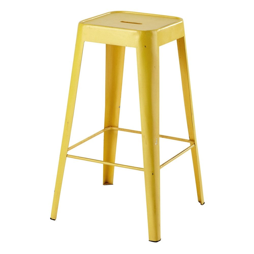 tabouret de bar en m tal jaune tomtabouret de bar jaune. Black Bedroom Furniture Sets. Home Design Ideas