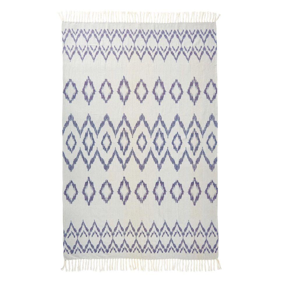 fouta en coton blanc motifs graphiques bleus 100x200tapis. Black Bedroom Furniture Sets. Home Design Ideas
