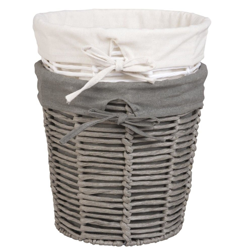 2 corbeilles en papier blanc et grisCorbeille de rangement - Gris - 25x25x0cm - MAISONS DU MONDE
