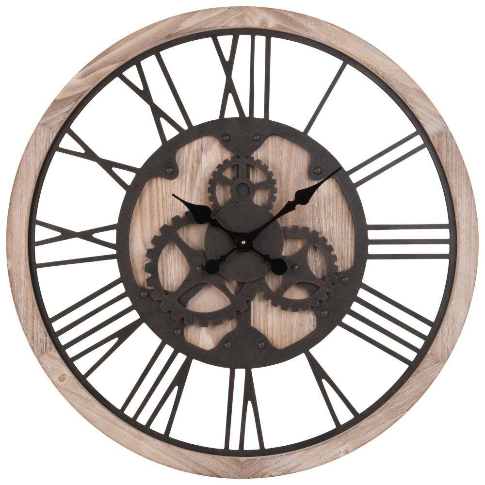 Horloge à Rouages Noirehorloge Murale Noir 80x80x5cm