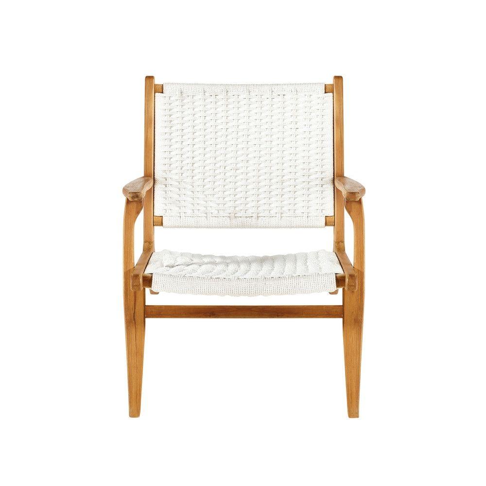 Maison Du Monde Fauteuil Rotin fauteuil de jardin en acacia et corde blanche parosfauteuil