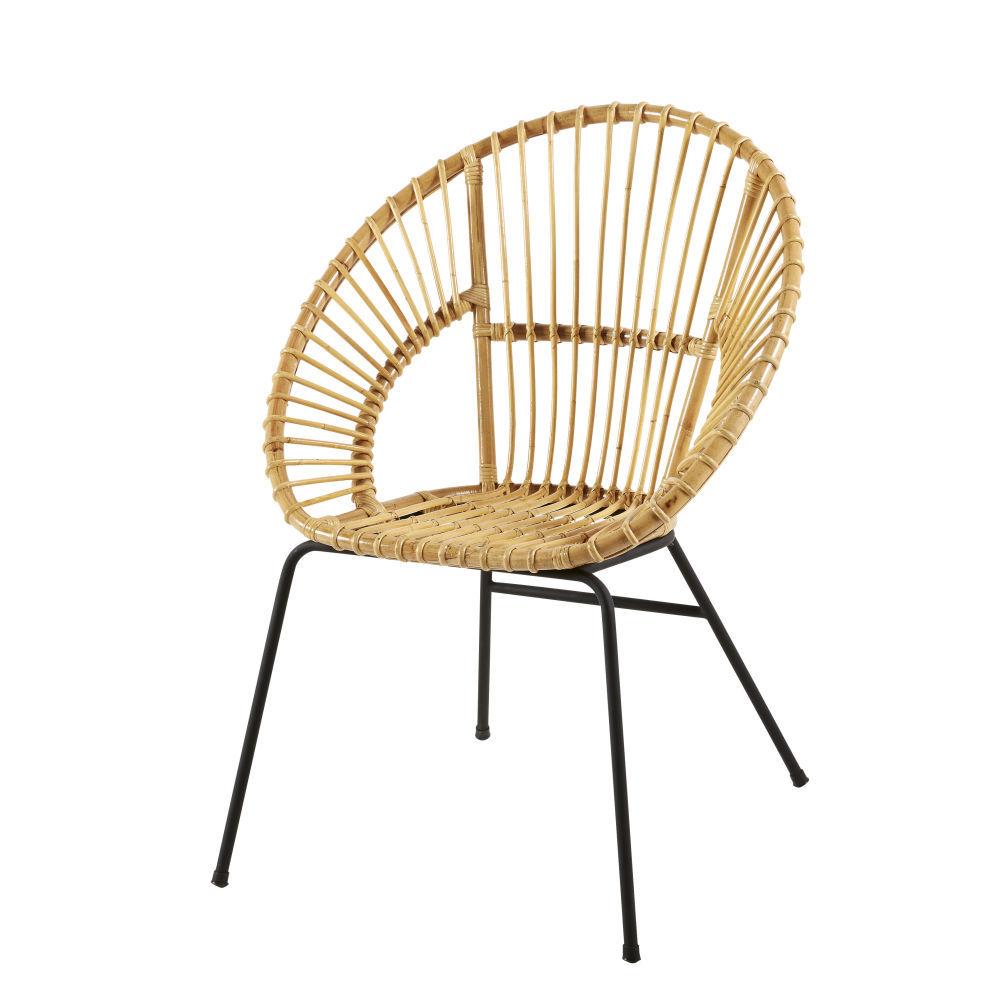 Maison Du Monde Fauteuil Rotin fauteuil en rotin et métal noir zen marketfauteuil