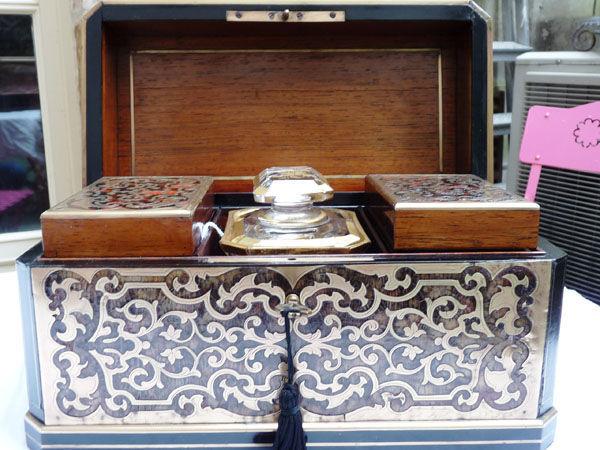 Art & Antiques - Boite à thé-Art & Antiques-Coffret à thé en marqueterie Boulle XIXe