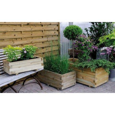 JARDIPOLYS - Bac à fleurs-JARDIPOLYS-Bac à fleur rectangulaire en pin sylvestre 62 litr