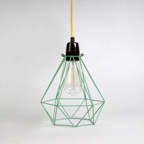 Filament Style - Suspension-Filament Style-DIAMOND 1 - Suspension Menthe câble Jaune Ø18cm  