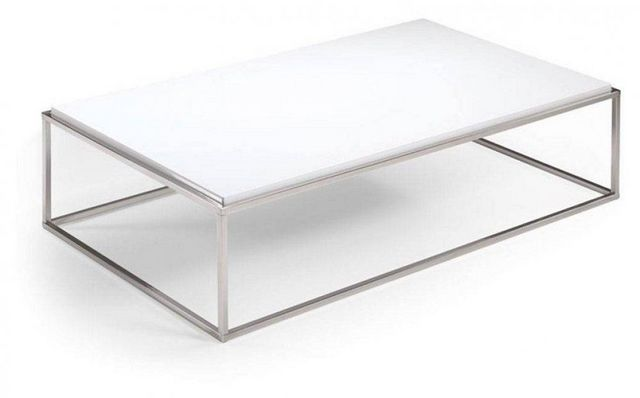 WHITE LABEL - Table basse rectangulaire-WHITE LABEL-Table basse rectangle MIMI blanc