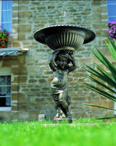 Fontes D'art De Dommartin - Fontaine centrale d'extérieur-Fontes D'art De Dommartin-Fontaine de jardin Angelot