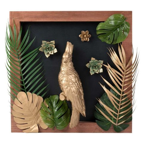 Tableau perroquet dor 48x48tableau d coratif Tableau maisons du monde
