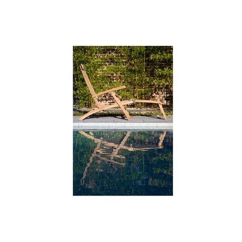 BOIS DESSUS BOIS DESSOUS - Chaise longue de jardin-BOIS DESSUS BOIS DESSOUS-Steamer en bois de teck MIDLAND