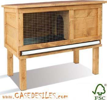 Case des iles - Clapier-Case des iles-Clapier bois petit enclos standard 0600145   Petit clapier bois surélevé