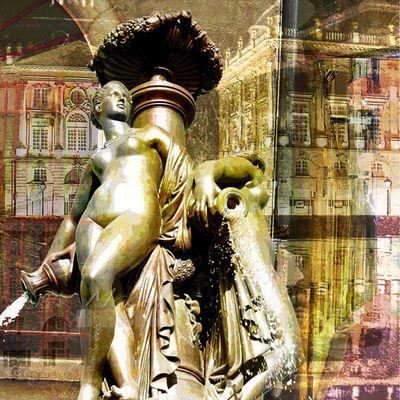 Magel'design - Tableau contemporain-Magel'design-Bordeaux Les 3 Grâces 120x120 cm , 3D effet relief