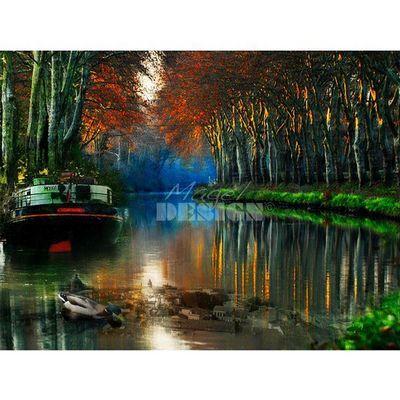Magel'design - Tableau contemporain-Magel'design-Canal du Midi 120x90 cm , 3D effet relief