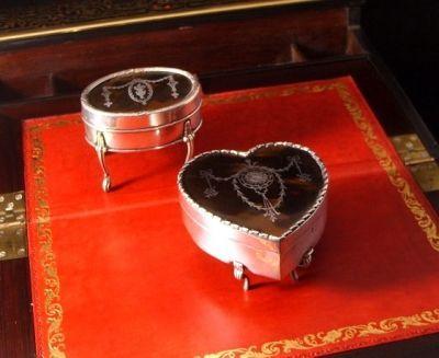 Art & Antiques - Coffret à bijoux-Art & Antiques-Lot de 2 Petites boites en argent massif et écaill