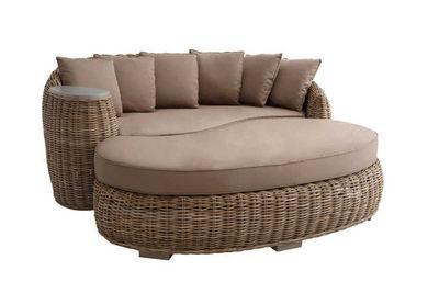 BARCLER - Canapé de jardin-BARCLER-Canapé demi-rond en poelet gris avec coussins 190x
